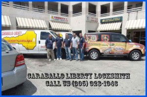 Work vans and staff at our Locksmith Miami