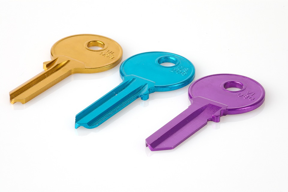 gold blue and purple keys