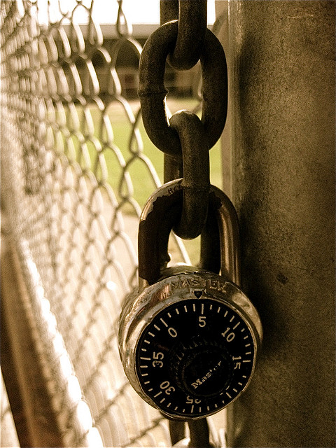 Master combination lock on a chain
