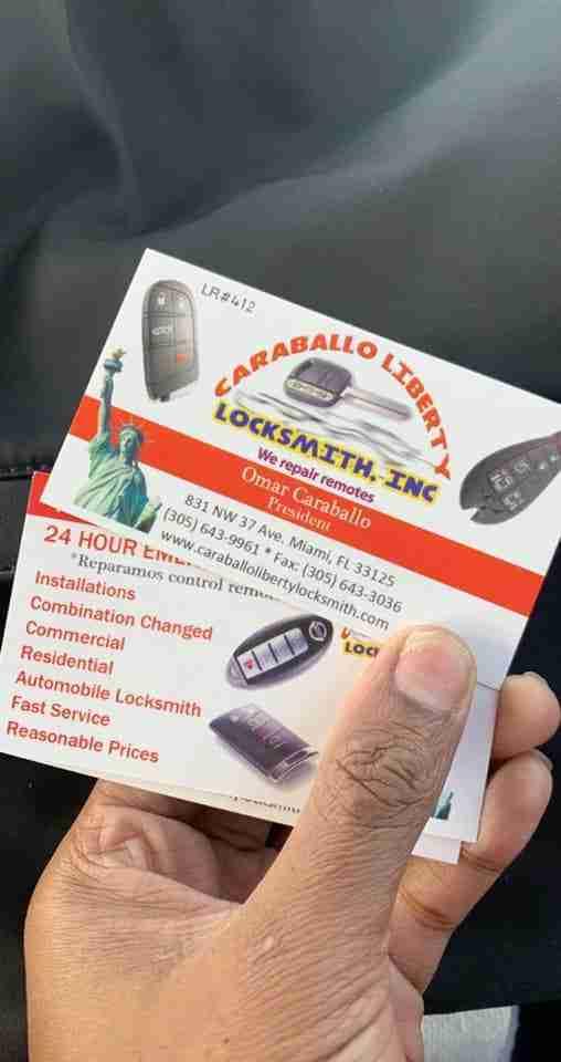 Caraballo Liberty Locksmith business card